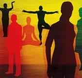 Grupo de pessoas em poses ordinárias e em poses da ioga Em um fundo textured colorido ilustração do vetor