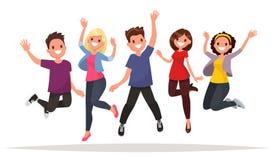 Grupo de pessoas feliz que salta em um fundo branco O conceito Foto de Stock