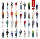 Grupo de pessoas multi-étnico em vários conceitos de trabalhos fotografia de stock royalty free