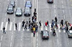 Grupo de pessoas no cruzamento de zebra Imagem de Stock