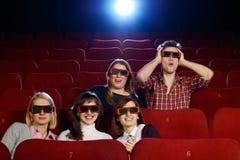 Grupo de pessoas nos vidros 3D Fotografia de Stock Royalty Free