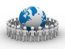 Grupo de pessoas que está o globo redondo. Foto de Stock