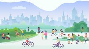 Grupo de pessoas que executa atividades dos esportes no parque Fazendo exercícios da ginástica, movimentar-se, falar e andar, mon ilustração royalty free