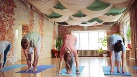 Grupo de pessoas que faz exercícios da ioga no gym filme