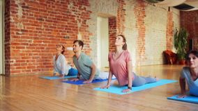 Grupo de pessoas que faz exercícios da ioga no gym vídeos de arquivo