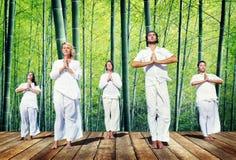 Grupo de pessoas que faz a meditação com natureza Foto de Stock