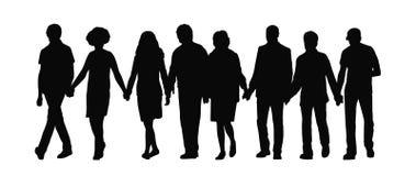 Grupo de pessoas que guarda a silhueta 1 das mãos ilustração stock