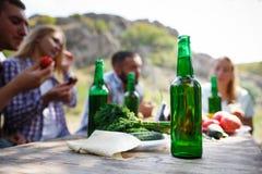 Grupo de pessoas que janta o conceito da unidade Os melhores amigos estão bebendo a cerveja saboroso em um piquenique do verão fotografia de stock