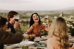 Grupo de pessoas que tem o grande tempo no partido de jantar imagem de stock