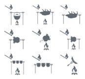 Grupo de pictograma de acampamento do equipamento Fotografia de Stock