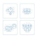 Grupo de pictograma na caixa ilustração stock