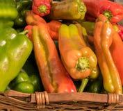 Grupo de pimentas coloridos na cesta de vime marrom fotos de stock