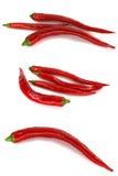 Grupo de pimentas de pimentão vermelho bonitas Imagem de Stock