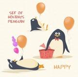Grupo de pinguim dos feriados Fotos de Stock