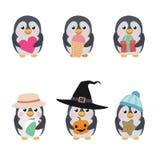 Grupo de pinguins bonitos Fotos de Stock Royalty Free