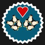 Grupo de pinguins com coração Fotos de Stock Royalty Free