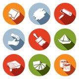 Grupo de pintura do ícone do trabalho Imagens de Stock