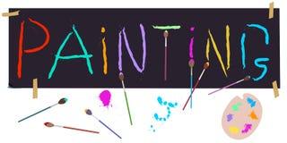 Grupo de pintura: entregue a rotulação escrita, escovas, paleta do ` s do artista Vetor ilustração stock