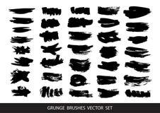 Grupo de pintura preta, cursos da escova da tinta, escovas, linhas Elementos artísticos sujos do projeto, caixas, quadros para o  ilustração royalty free