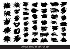 Grupo de pintura preta, cursos da escova da tinta, escovas, linhas Elementos art?sticos sujos do projeto, caixas, quadros para o  ilustração stock