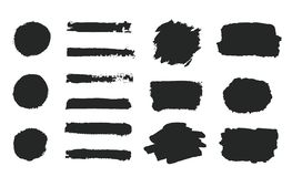 Grupo de pintura preta da mão do grunge, formas redondas, listras, cursos da escova da tinta, círculos pintados à mão, escovas, l ilustração do vetor