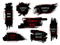 Grupo de pintura preta, de cursos da escova da tinta e de formas geométricas Elementos criativos do projeto Lugar para o texto ou Imagem de Stock