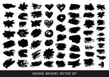 Grupo de pintura preta, strokeSet da escova da tinta da pintura preta, cursos da escova da tinta, escovas, linhas Elementos artís ilustração royalty free