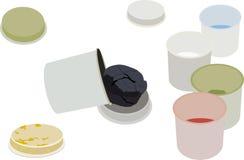 Grupo de pinturas do guache nas latas Ilustração Stock