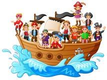 Grupo de pirata en la nave Foto de archivo libre de regalías