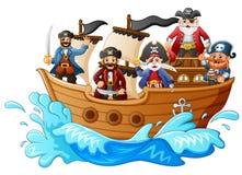 Grupo de pirata no navio Imagem de Stock