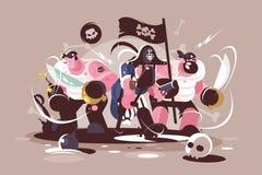 Grupo de piratas enojados con las bombas y el arma de las espadas ilustración del vector
