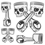 Grupo de pistão para emblemas, tatuagem do crânio do projeto, etiquetas esporte Fotografia de Stock Royalty Free