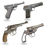 Grupo de pistolas no fundo branco Imagens de Stock