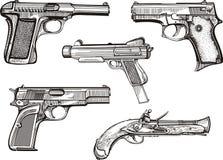 Grupo de pistolas velhas Fotografia de Stock Royalty Free
