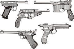 Grupo de pistolas velhas Foto de Stock