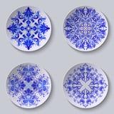 Grupo de placas circulares florais Fotos de Stock Royalty Free