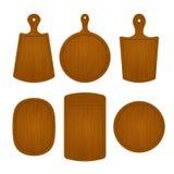 Grupo de placas de corte de madeira vazias em formas diferentes isoladas no fundo branco Ilustração do vetor do objeto da cozinha Fotografia de Stock