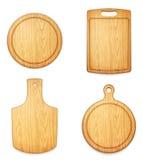 Grupo de placas de corte de madeira vazias no fundo branco Imagens de Stock Royalty Free