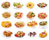Grupo de placas do alimento isoladas no fundo branco fotografia de stock royalty free