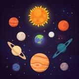 Grupo de planetas brilhantes coloridos Sistema solar, espaço com estrelas Ilustração bonito do vetor dos desenhos animados ilustração royalty free