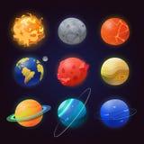 Grupo de planetas isolados e de sol do sistema solar ilustração stock