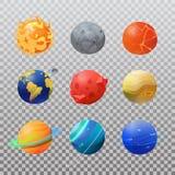 Grupo de planetas isolados e de sol do sistema solar ilustração do vetor