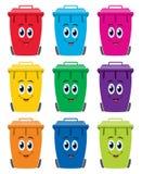 Grupo de plano colorido que recicla ícones do escaninho do wheelie Fotos de Stock