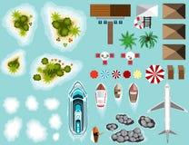 Grupo de plano, ilhas, infraestrutura da praia, navio Fotos de Stock Royalty Free