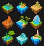 Grupo de plataformas de flutuação com paisagens diferentes Vulcão com lava, deserto com cactos, cachoeira, ilha com ilustração do vetor