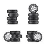 Grupo de pneus para carros Fotos de Stock Royalty Free