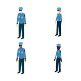 Grupo de polícias isométricos Imagens de Stock