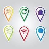 Grupo de ponteiros brilhantes do mapa Fotografia de Stock