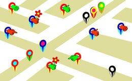 Grupo de ponteiros coloridos do mapa dos desenhos animados Colorido com mãos O vetor gesticula incomum ilustração stock