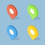 Grupo de ponteiros da cor 3d GPS isolados no azul Imagens de Stock Royalty Free